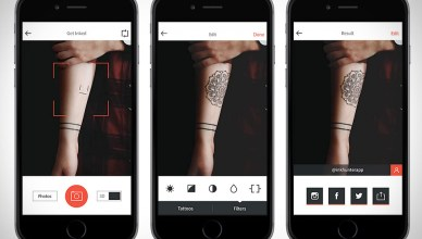 Photos de l'application Ink Hunter qui vous permet de tester virtuellement un tatouage