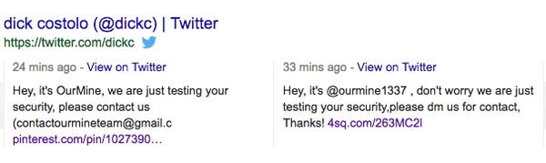 deux des tweets postés par le groupe de hacker OurMine sur le compte Twitter de Dick Costolo (ancien PDG de Twitter)