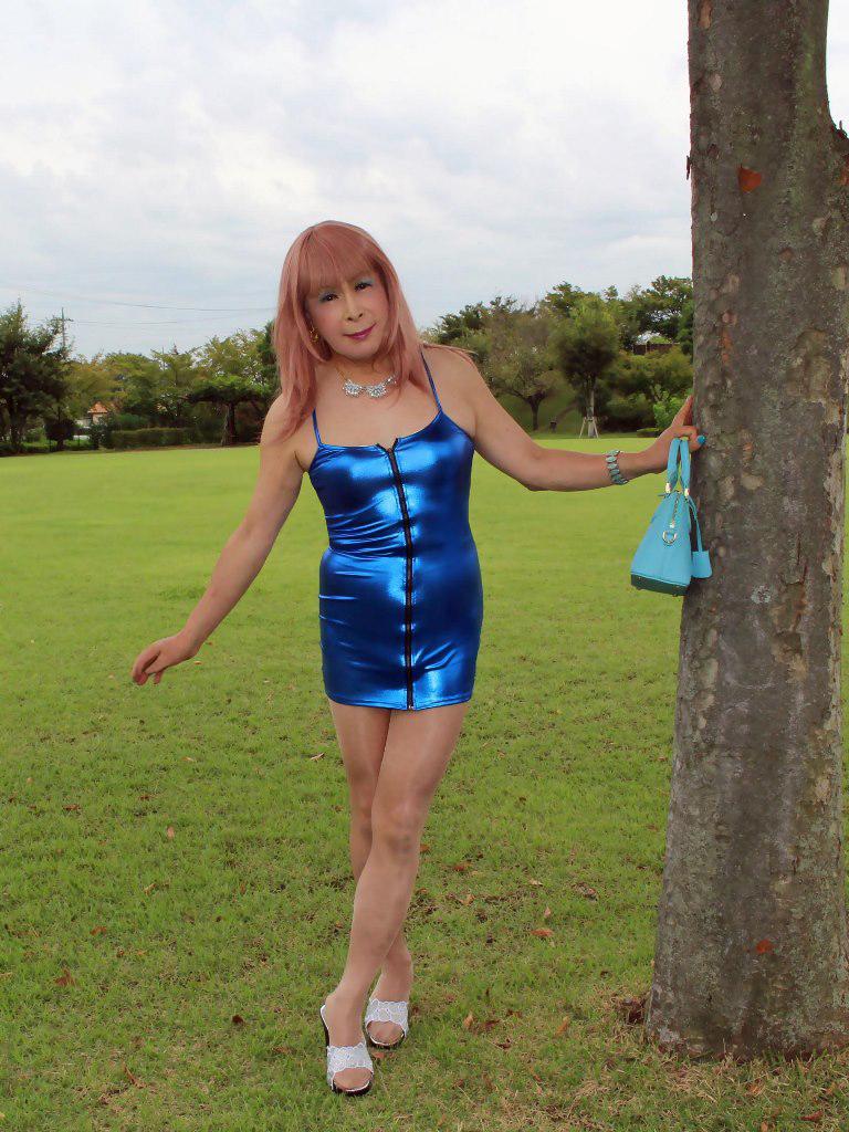 青色ボディコンミニワンピC(1)