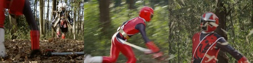 戦隊ヒーロー、ニンニンジャーのアカニンジャーが敵と一騎打ち、やられて敗北