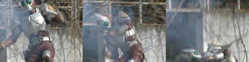仮面ライダーギャレンが苦戦、やられて敗北