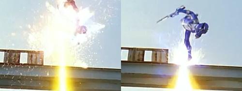 戦隊ヒーロー、ボウケンブルーがスーパー風のシズカにやられる。