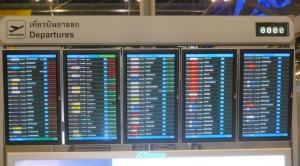 スワンナプーム空港の運行案内板