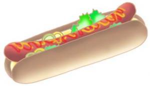 热狗 美国的食物 快餐食品 便饭 香肠