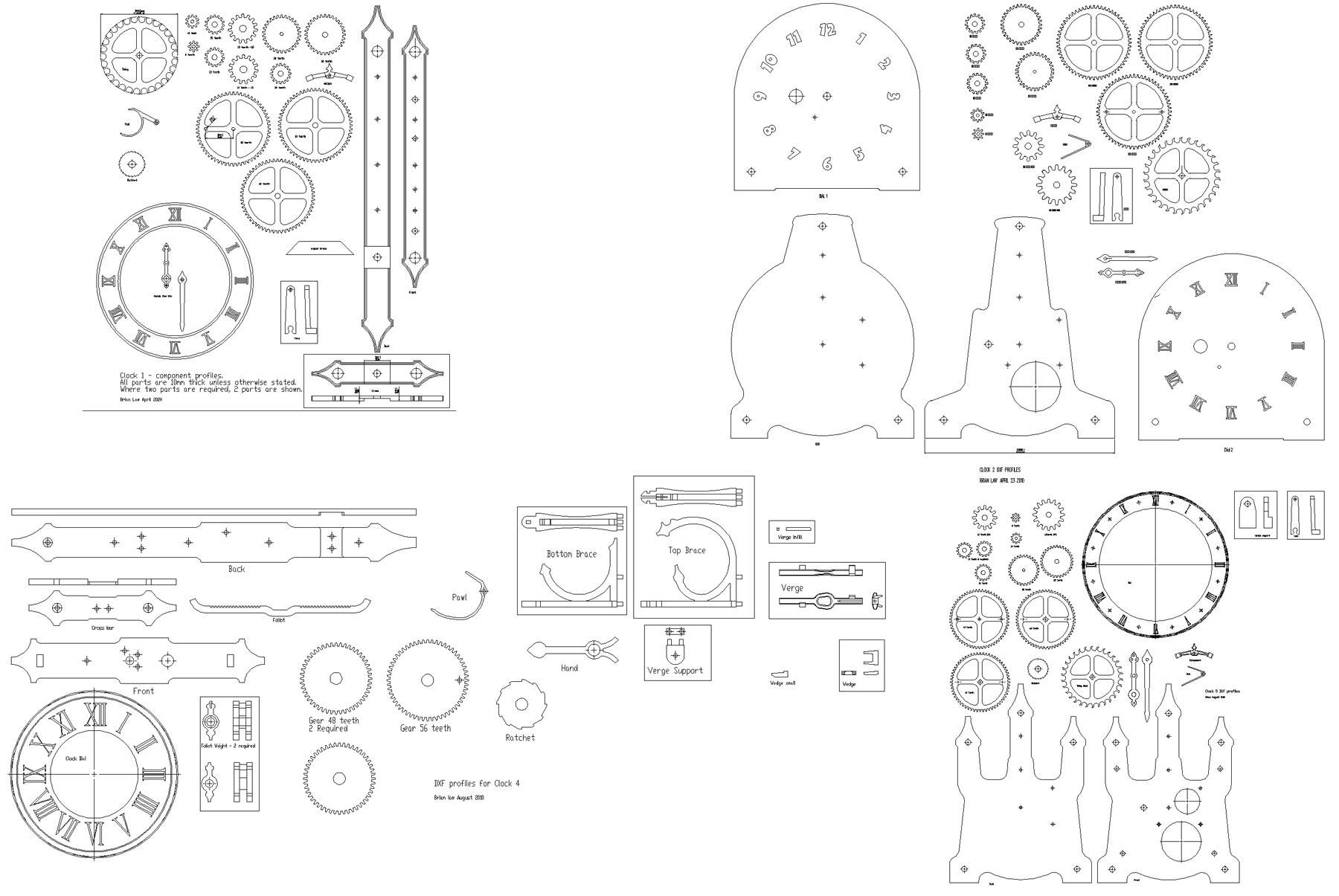 Wood Gear Clock Dxf