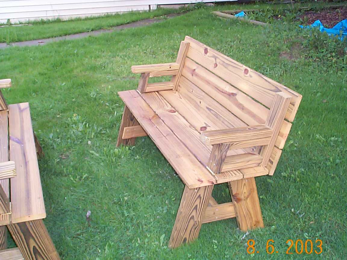 picnic table bench combo plans