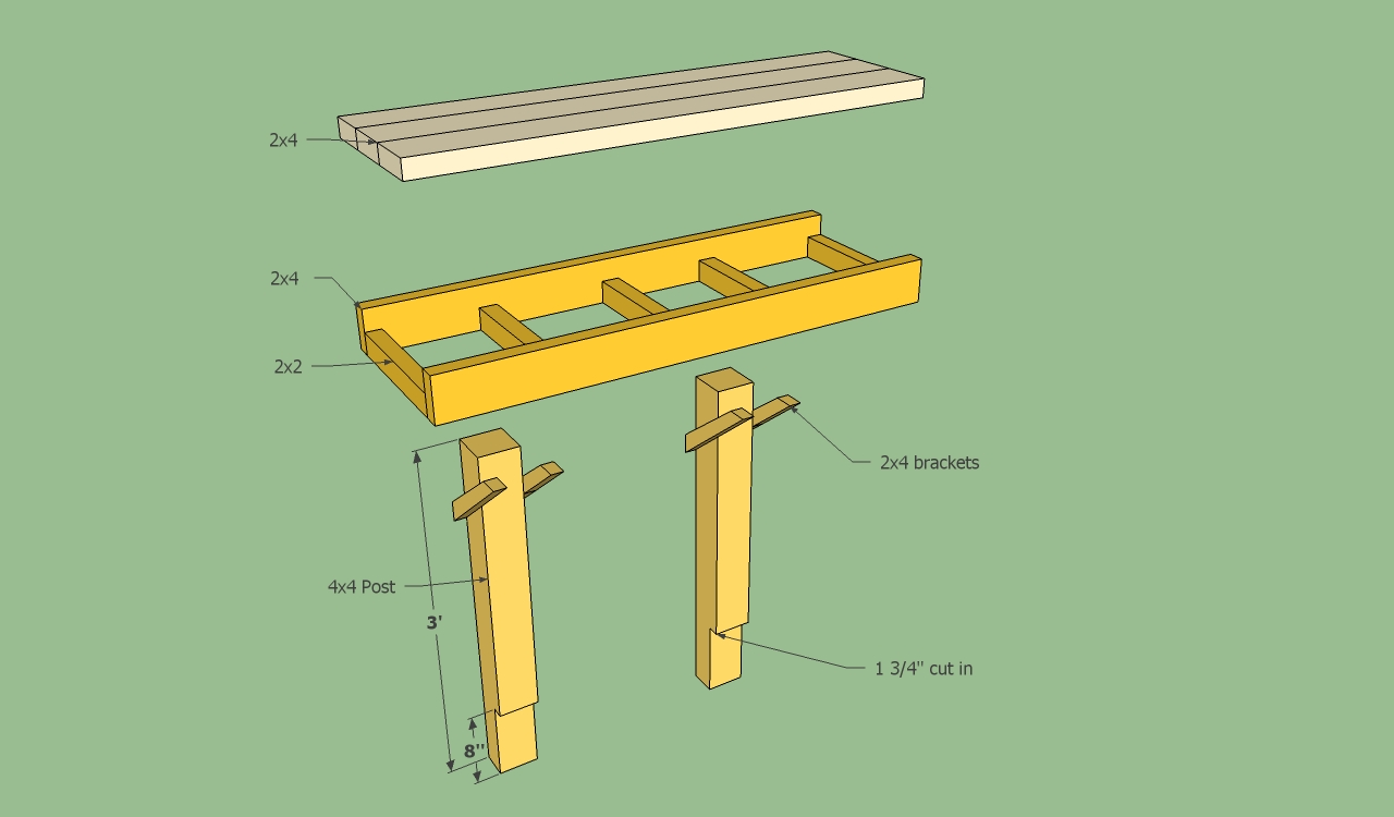 how to build wood bench on deck