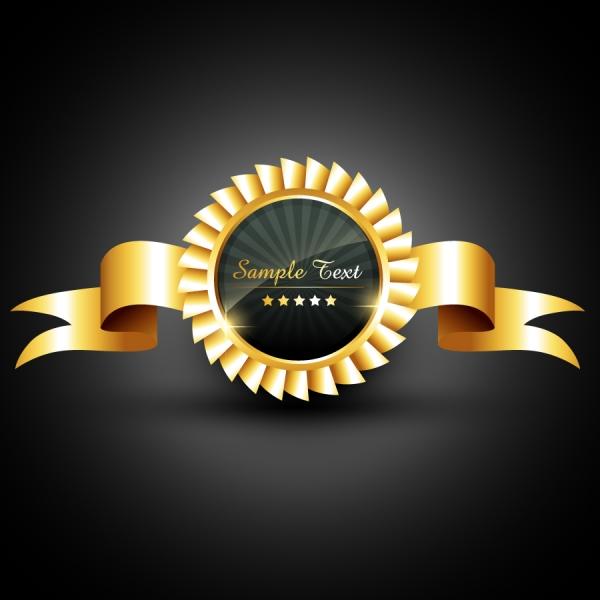 金ピカのリボン飾りのクリップアート gold ribbon badges