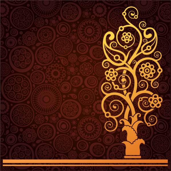 豪華な金色の植物柄背景 throat lines trees gold pattern