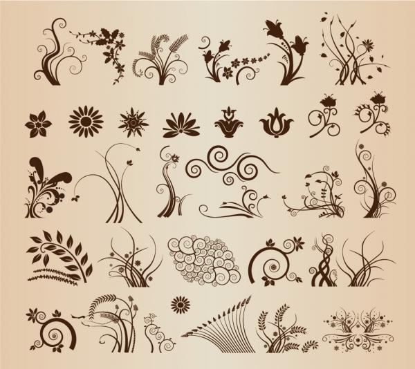 曲線が美しい植物の飾り罫 Floral Ornamental Elements for Design