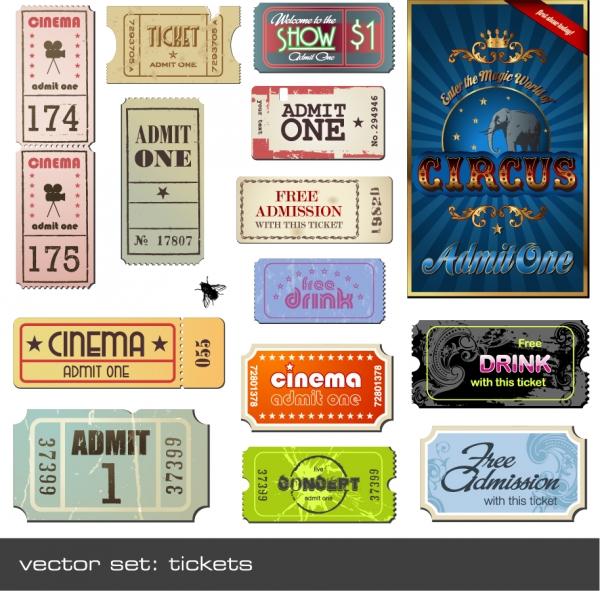 懐かしいヴィンテージ物の映画チケット Vintage Movie Ticket Vector Set