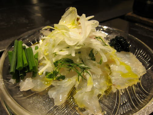 鮃の昆布〆新たまサラダ