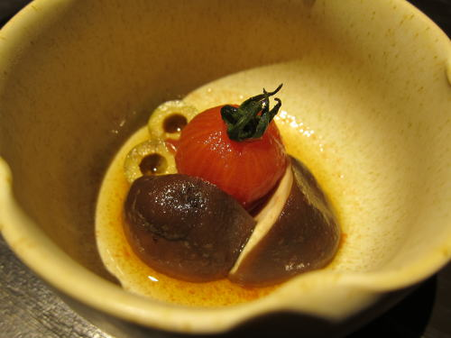 トマトとシイタケのお浸し