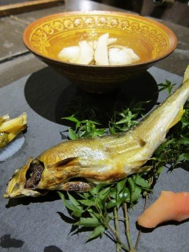 前菜3種(鮎・鱧松茸・アワビ)