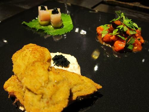 前菜3種(牡蠣の香草パン粉フライ・黒瀬ぶり昆布〆・タコのシシリー風)