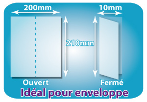 Dépliants / Plaquettes ouvert 200x210mm - fermé DL 100x210mm plié 1 pli type de pliage
