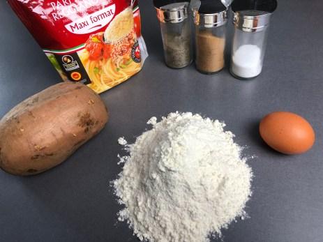 Ingrédients gnocchis à la patate douce