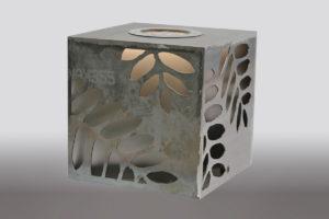 Leuchtender Corten Stahl Würfel (5)