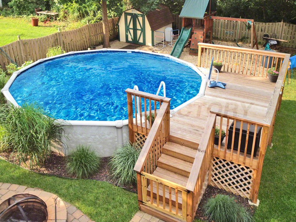Pool Deck Ideas (Partial Deck) - The Pool Factory on Patio Ideas Around Pool id=77834
