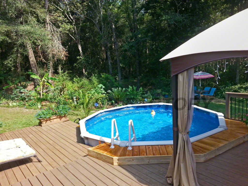 Pool Deck Ideas (Partial Deck) - The Pool Factory on Pool Deck Patio Ideas  id=41093