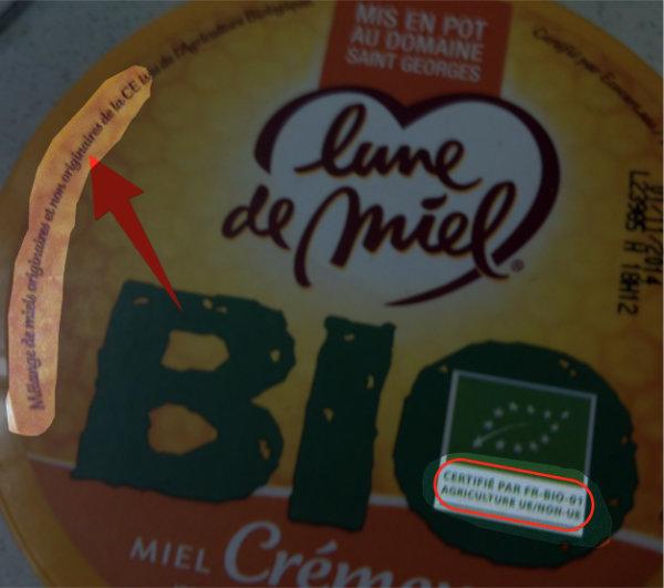 Mélange de miels Bio originaires et non originaires de la CE