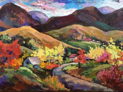 Paysage, acrylique Marie Migneron