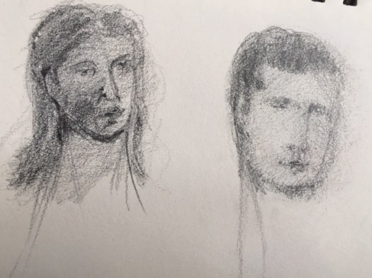 crayonnage, deux têtes, Marie Gauthier