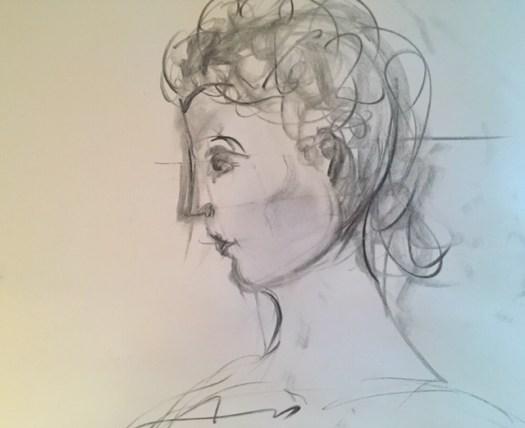 Profil fille, fusain sur papier journal, Marie Gauthier