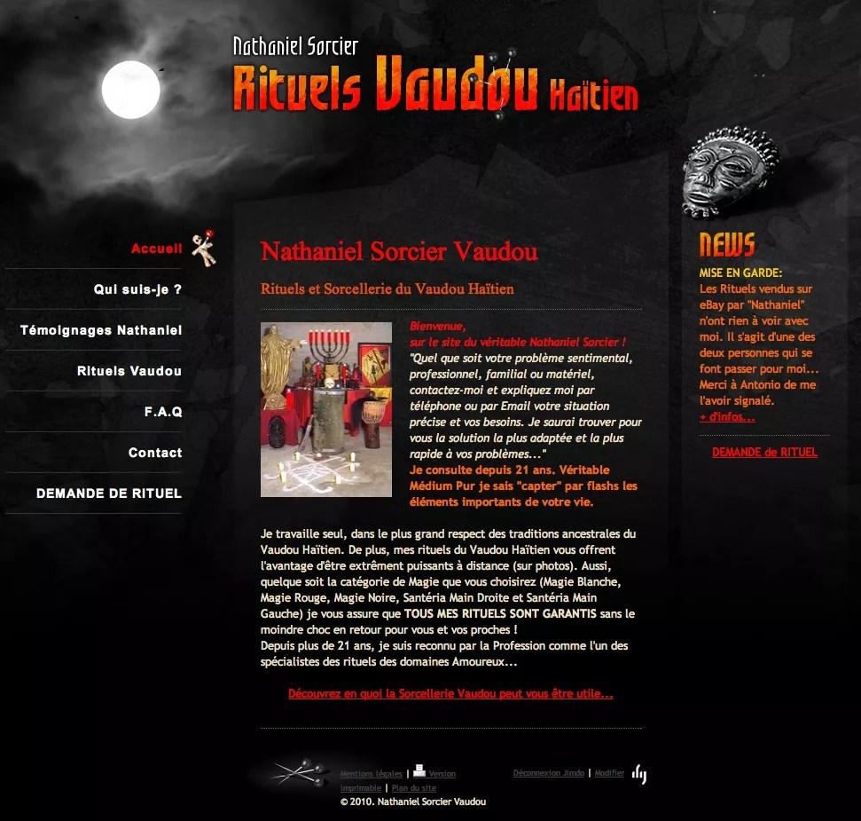Le site du Vrai Nathaniel Sorcier Vaudou