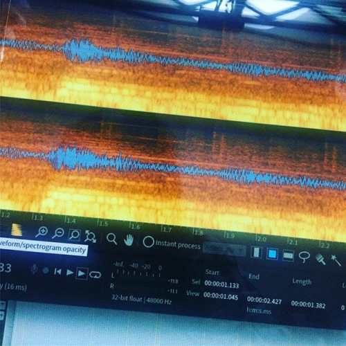フルパワーでスペクトログラム編集なう。 #protools #izotope #rx #rx6 #daw #noisereduction