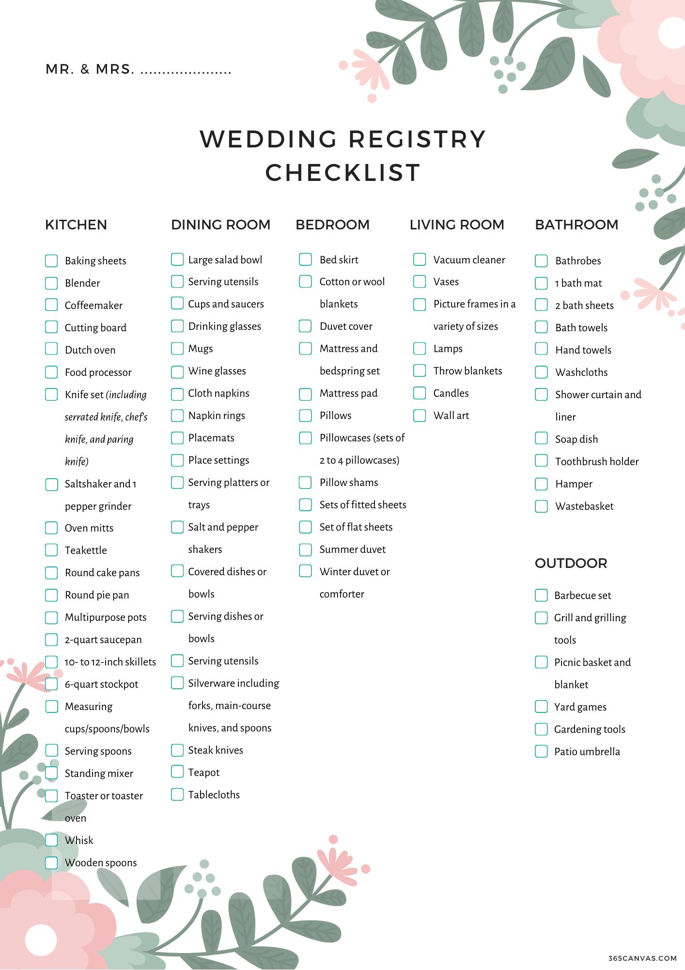 The Complete Wedding Registry Checklist Free Printable