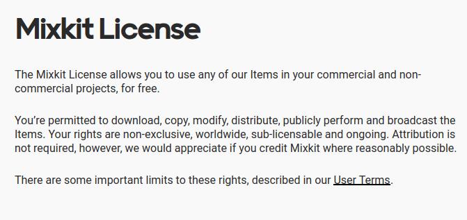 Mixkit 授權條款