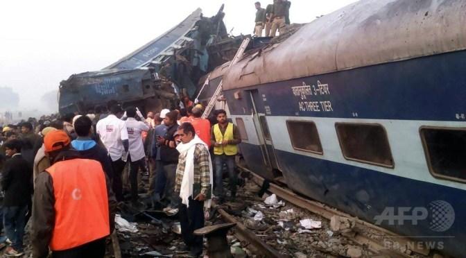 インド北部で急行列車が脱線、120人死亡