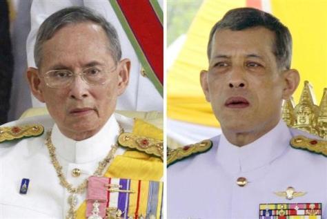 タイのプミポン前国王(AP、左)、ワチラロンコン皇太子(AP)