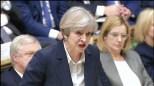 29日、ロンドンの英議会下院でEU離脱の正式通知について説明するメイ英首相(AP)