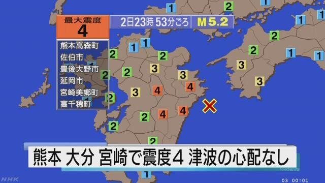 熊本・大分・宮崎で震度4 津波の心配なし