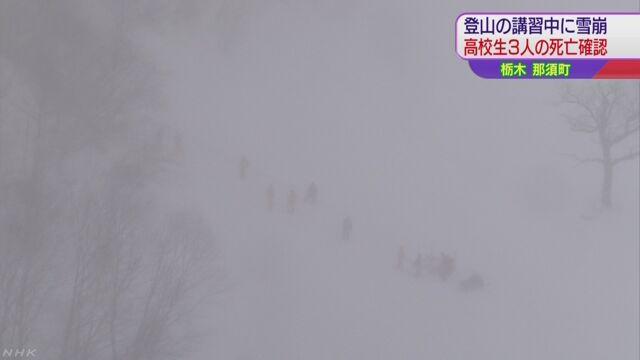 雪崩に巻き込まれた高校生のうち3人死亡確認