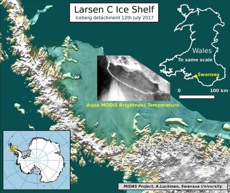 南極半島のラーセンC棚氷から分離した氷山について解説した図。スウォンジー大学提供(2017年7月12日提供)。(c)AFP/SWANSEA UNIVERSITY/ADRIAN LUCKMAN