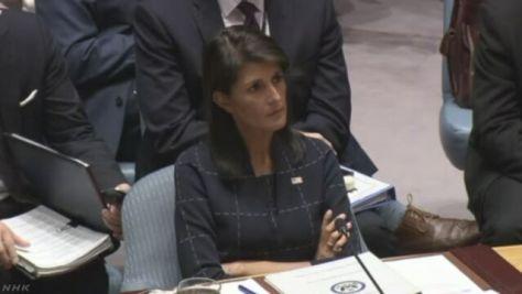 各国の国連大使が議場で意見述べる