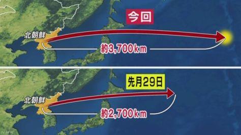 北朝鮮ミサイル 飛行距離は前回より1000キロ伸びる