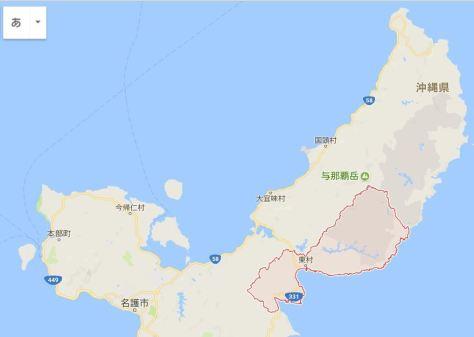 沖縄県北部の地図