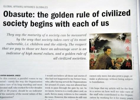 国連公認月刊誌「UNスペシャル」の10月号に掲載された「オバステ」と題された記事。「麻生太郎 姥(うば)捨て」と日本語で記されたコラージュが添えられていた