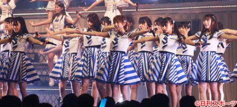 単独コンサートを開催したSTU48瀧野由美子(左)と岡田奈々(撮影・中島郁夫)