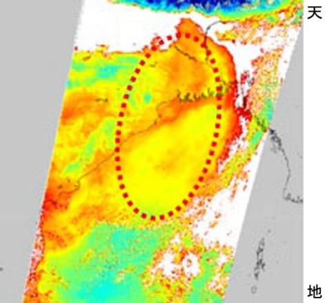 地球観測衛星「しきさい」が捉えたインドのガンジス川河口周辺の画像=JAXA提供・共同