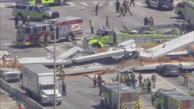 建設中の歩道橋崩落 車8台下敷きに 米 マイアミ