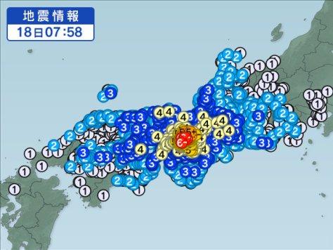 2018年6月18日 7時58分ごろ 地震情報 - Yahoo!天気・災害
