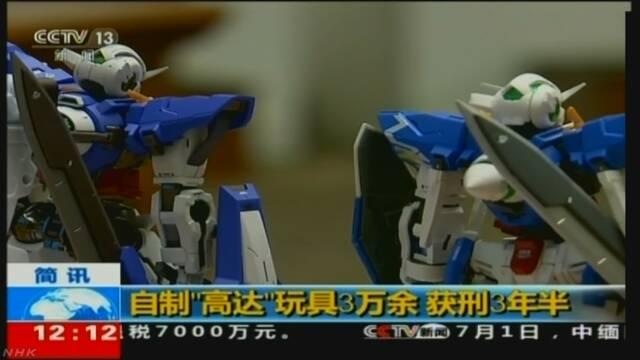 中国 ニセ「ガンプラ」3万個製造の罪 男に懲役3年6か月判決   NHKニュース