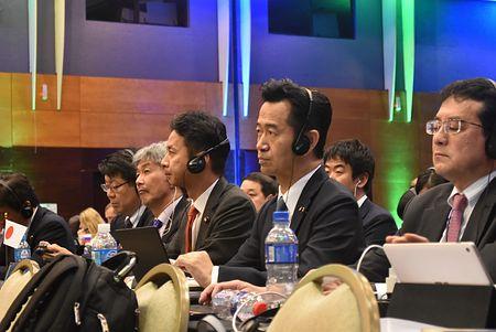 国際捕鯨委員会(IWC)総会に出席する日本政府代表団=14日、ブラジル・フロリアノポリス