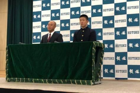 4球団の競合の末、広島が交渉権を獲得した報徳学園・小園海斗【写真:編集部】