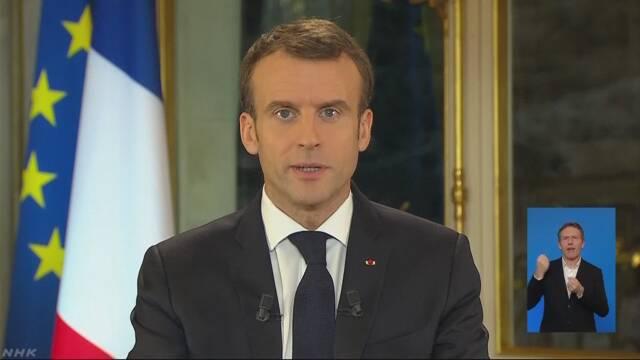 仏マクロン大統領 最低賃金引き上げを発表